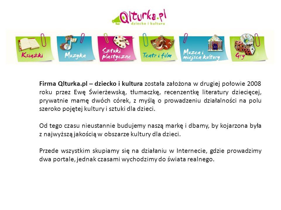 OBSZARY DZIAŁALNOŚCI: -prowadzenie portalu Qlturka.pl – www.qlturka.pl (skierowanego do rodziców dzieci w wieku 0-10, wychowawców przedszkolnych i nauczycieli klas 1-3, bibliotekarzy, animatorów kultury i wszystkich zainteresowanych kulturą lub pracujących z dziećmi) - portal Qlturka.pl to miejsce, w którym każdy, kto interesuje się tematyką kultury dla dzieci, znajdzie ciekawe teksty i pliki multimedialne, aktualne informacje i rzetelne recenzje z obszaru literatury, muzyki, teatru i filmu, sztuk plastycznych.