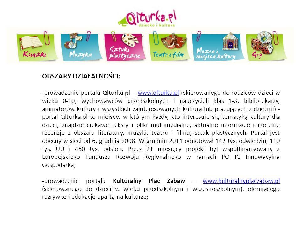 OBSZARY DZIAŁALNOŚCI: -prowadzenie portalu Qlturka.pl – www.qlturka.pl (skierowanego do rodziców dzieci w wieku 0-10, wychowawców przedszkolnych i nau