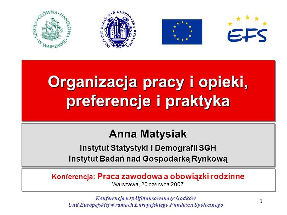1 Organizacja pracy i opieki, preferencje i praktyka Anna Matysiak Instytut Statystyki i Demografii SGH Instytut Badań nad Gospodarką Rynkową Anna Mat
