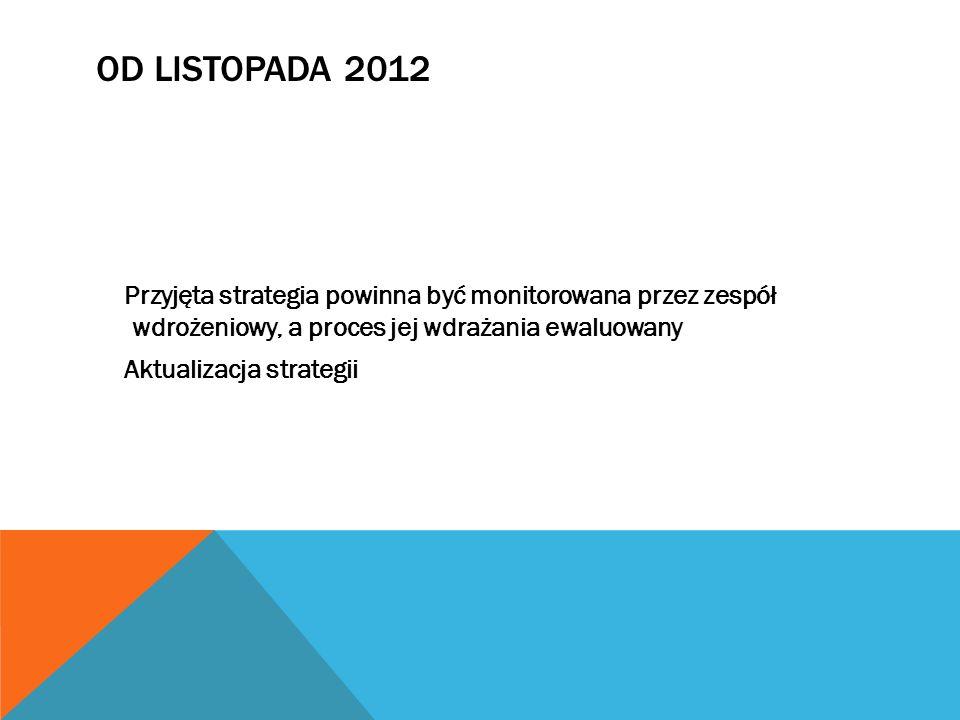 OD LISTOPADA 2012 Przyjęta strategia powinna być monitorowana przez zespół wdrożeniowy, a proces jej wdrażania ewaluowany Aktualizacja strategii