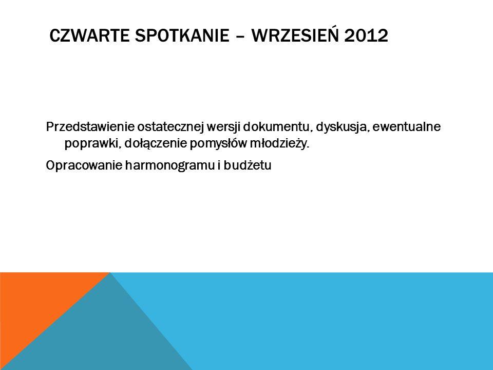 CZWARTE SPOTKANIE – WRZESIEŃ 2012 Przedstawienie ostatecznej wersji dokumentu, dyskusja, ewentualne poprawki, dołączenie pomysłów młodzieży. Opracowan