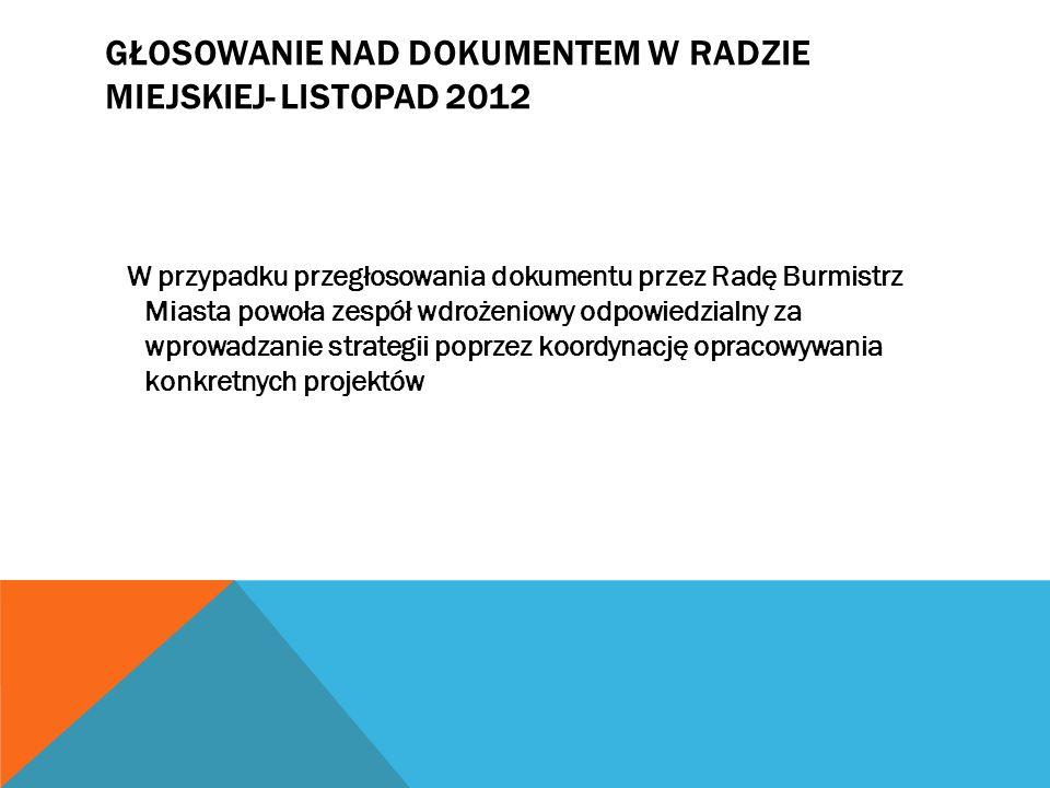 GŁOSOWANIE NAD DOKUMENTEM W RADZIE MIEJSKIEJ- LISTOPAD 2012 W przypadku przegłosowania dokumentu przez Radę Burmistrz Miasta powoła zespół wdrożeniowy