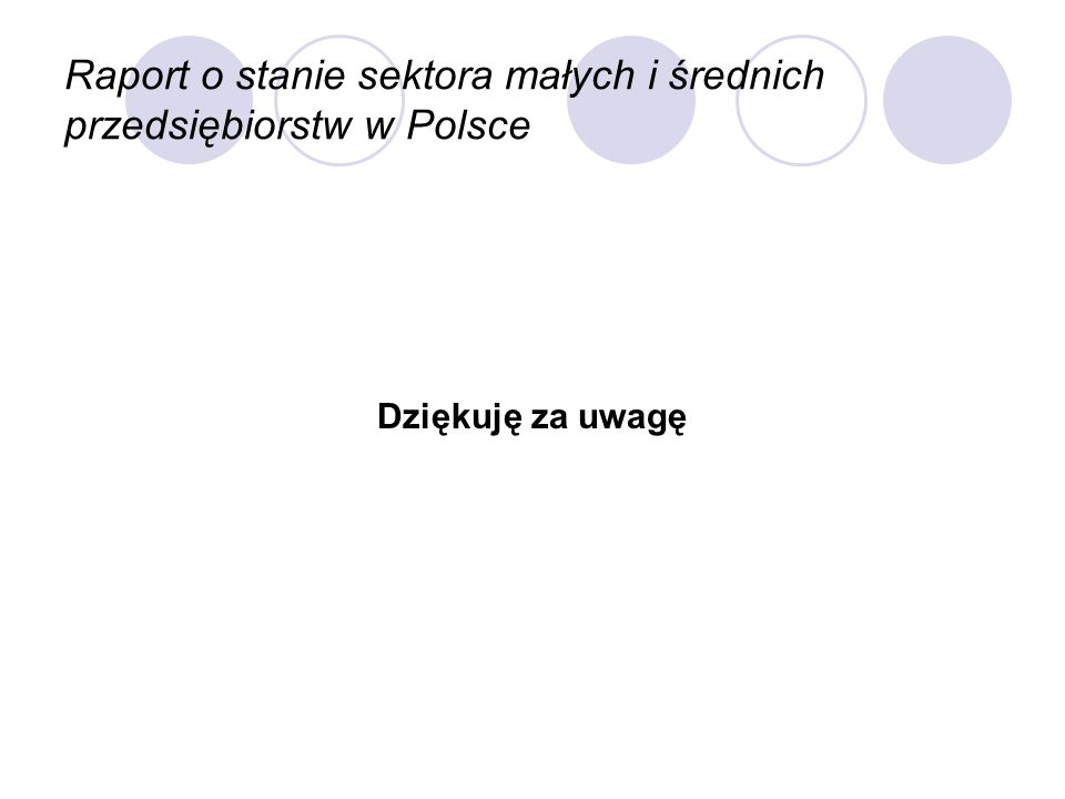 Raport o stanie sektora małych i średnich przedsiębiorstw w Polsce Dziękuję za uwagę