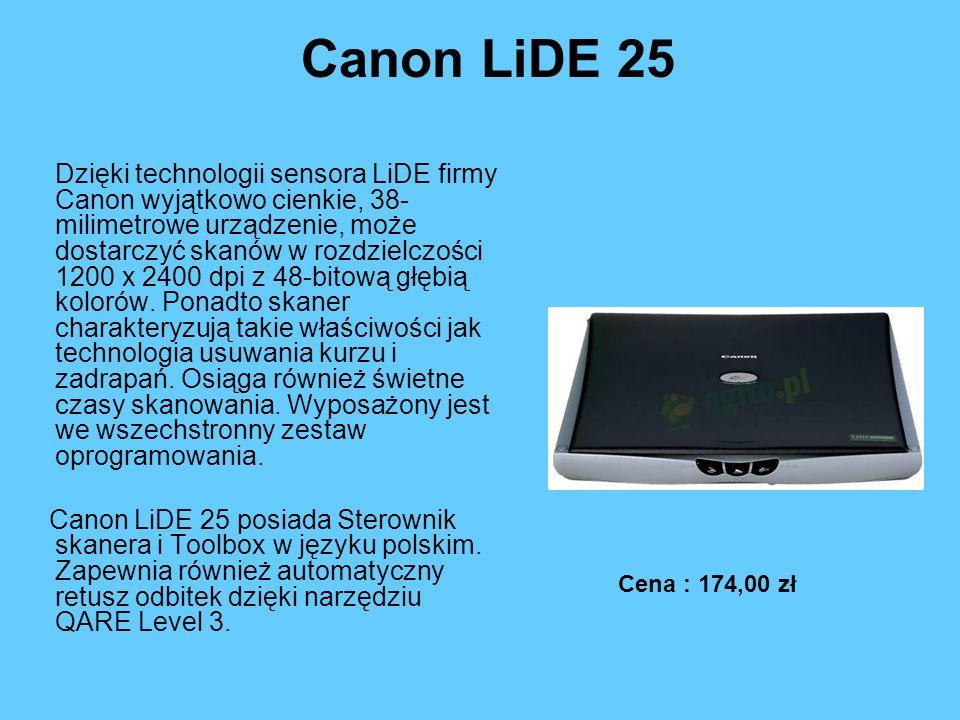 Canon LiDE 25 Dzięki technologii sensora LiDE firmy Canon wyjątkowo cienkie, 38- milimetrowe urządzenie, może dostarczyć skanów w rozdzielczości 1200