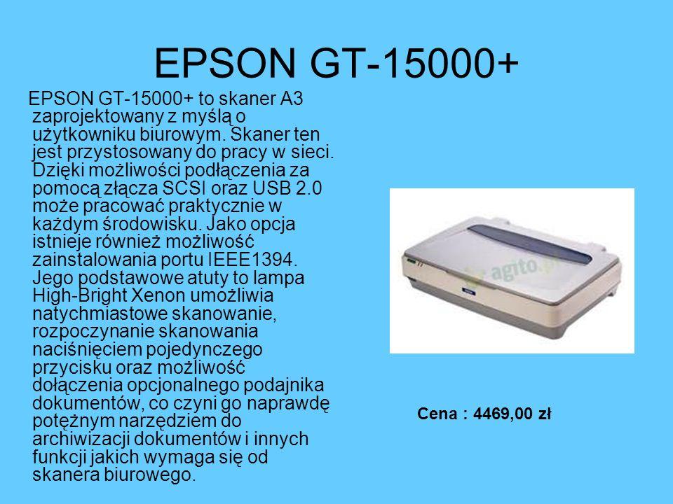 EPSON GT-15000+ EPSON GT-15000+ to skaner A3 zaprojektowany z myślą o użytkowniku biurowym. Skaner ten jest przystosowany do pracy w sieci. Dzięki moż