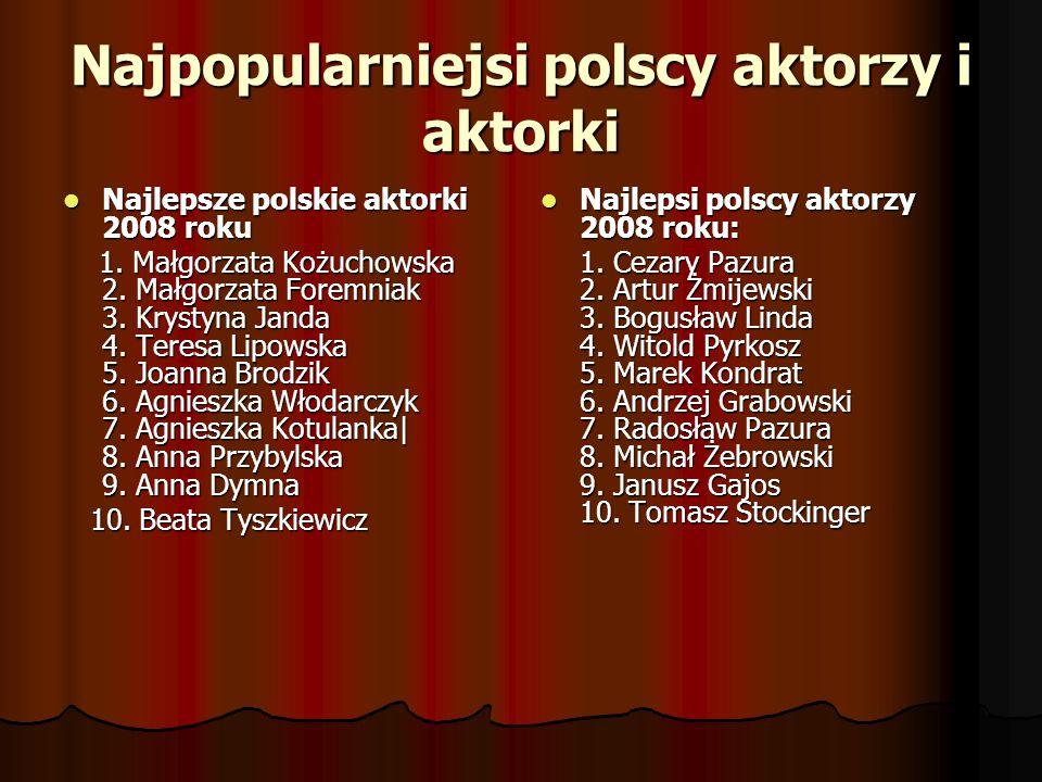 Najpopularniejsi polscy aktorzy i aktorki Najlepsze polskie aktorki 2008 roku Najlepsze polskie aktorki 2008 roku 1. Małgorzata Kożuchowska 2. Małgorz