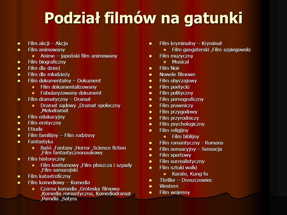 Przykłady Dramat: Pianista (2002) Dramat: Pianista (2002) Film animowany: Shrek (2001) Film animowany: Shrek (2001) Film familijny: Kevin sam w domu (1990; jak i jego trzy kontynuacje) Film familijny: Kevin sam w domu (1990; jak i jego trzy kontynuacje) Film fantasy: Władca Pierścieni (2001-2003) Film fantasy: Władca Pierścieni (2001-2003) Film gangsterski: Ojciec chrzestny (1972) Film gangsterski: Ojciec chrzestny (1972) Film historyczny: Potop (1974) Film historyczny: Potop (1974) Film kostiumowy: Zakochany Szekspir (1998) Film kostiumowy: Zakochany Szekspir (1998) Film płaszcza i szpady: Trzej muszkieterowie (1993) Film płaszcza i szpady: Trzej muszkieterowie (1993) Film psychologiczny: Pręgi (2004) Film psychologiczny: Pręgi (2004) Film science fiction: Gwiezdne wojny (1977-2005) Film science fiction: Gwiezdne wojny (1977-2005) Film sensacyjny: Szklana pułapka (1988) Film sensacyjny: Szklana pułapka (1988) Film sportowy: Szybki jak błyskawica (1990), Film sportowy: Szybki jak błyskawica (1990), Film szpiegowski: Zawód: szpieg (2001), Film szpiegowski: Zawód: szpieg (2001), Film wojenny: Szeregowiec Ryan (1998), Film wojenny: Szeregowiec Ryan (1998), Horror: Piątek, trzynastego (1980) Horror: Piątek, trzynastego (1980) Komedia romantyczna: Tylko mnie kochaj (2006) Komedia romantyczna: Tylko mnie kochaj (2006) Komedia: Miś (1981) Komedia: Miś (1981) Kryminał: Psy (1992) Kryminał: Psy (1992) Melodramat: Przeminęło z wiatrem (1939) Melodramat: Przeminęło z wiatrem (1939) Musical: Chicago (2002) Musical: Chicago (2002) Thriller: Psychoza (1960) Thriller: Psychoza (1960) Western: Tańczący z wilkami (1990) Western: Tańczący z wilkami (1990)