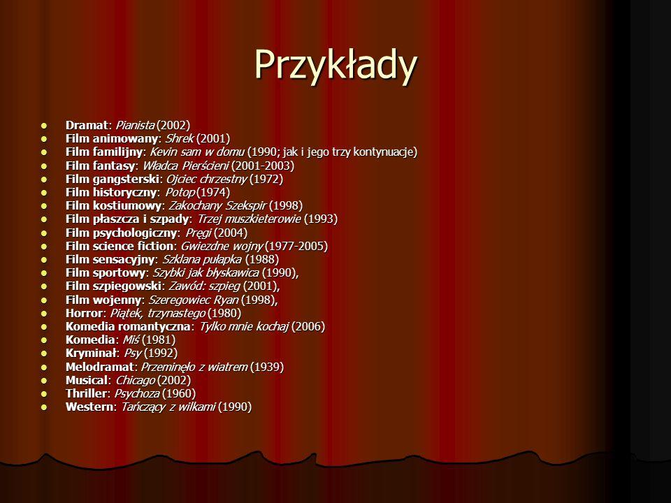 Przykłady Dramat: Pianista (2002) Dramat: Pianista (2002) Film animowany: Shrek (2001) Film animowany: Shrek (2001) Film familijny: Kevin sam w domu (