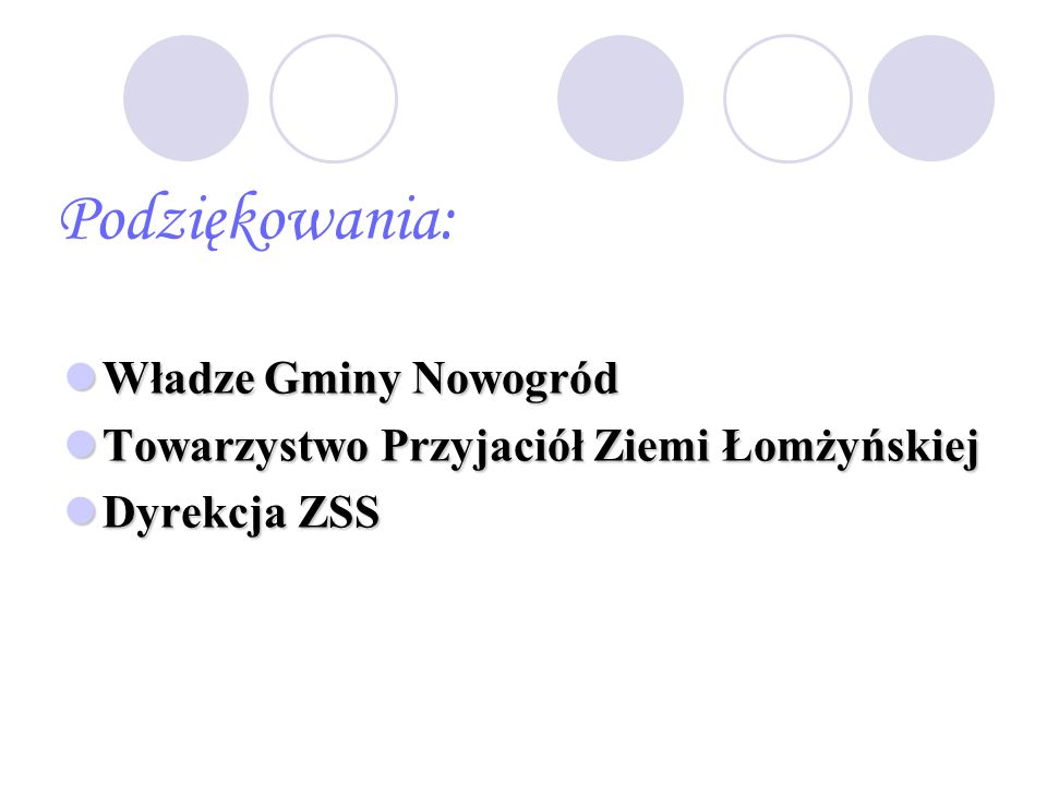Podziękowania: Władze Gminy Nowogród Władze Gminy Nowogród Towarzystwo Przyjaciół Ziemi Łomżyńskiej Towarzystwo Przyjaciół Ziemi Łomżyńskiej Dyrekcja ZSS Dyrekcja ZSS