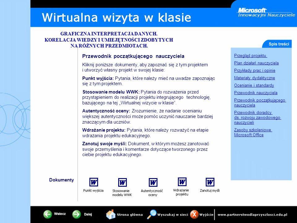 Przegląd projektu Plan działań nauczyciela Przykłady prac i opinie Materiały dydaktyczne Ocenianie i standardy Przewodnik nauczyciela Przewodnik począ