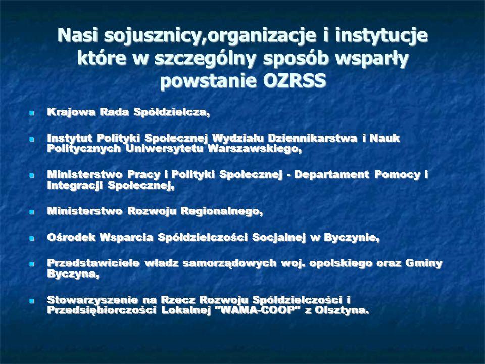 Nasi sojusznicy,organizacje i instytucje które w szczególny sposób wsparły powstanie OZRSS Krajowa Rada Spółdzielcza, Krajowa Rada Spółdzielcza, Insty