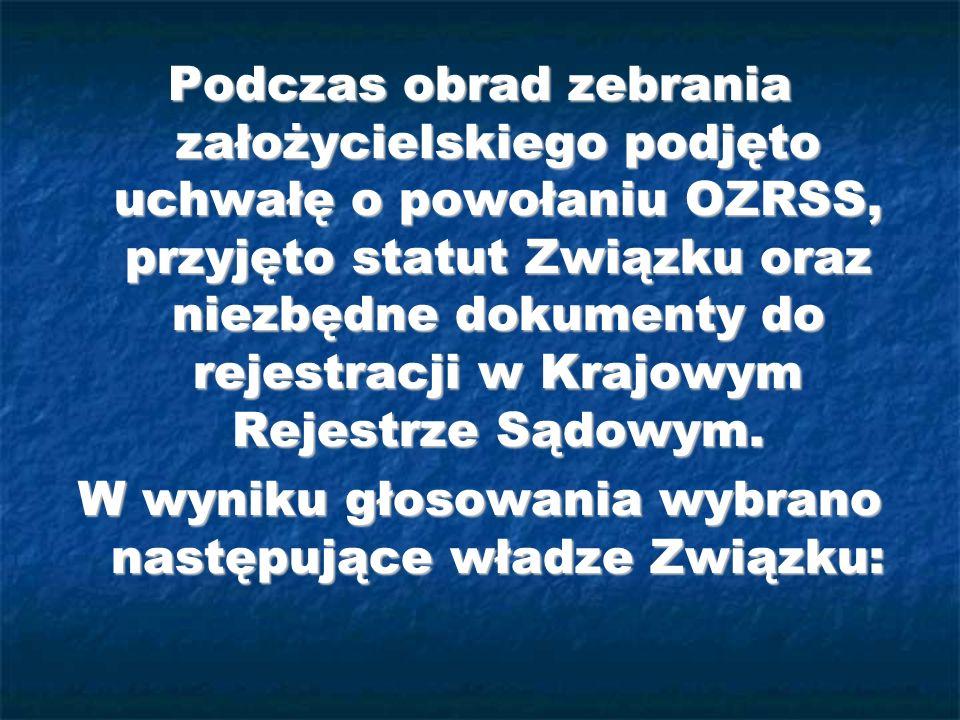 Do 7-osobowej Rady Nadzorczej OZRSS wybrani zostali: Marcin Juszczyk (Przewodniczący) - Spółdzielnia Socjalna Handlowo-Usługowo- Produkcyjna z Byczyny, Marcin Juszczyk (Przewodniczący) - Spółdzielnia Socjalna Handlowo-Usługowo- Produkcyjna z Byczyny, Jerzy Lamprecht (Z-ca Przewodniczącego) - Spółdzielnia Socjalna WwwPromotion z Wrocławia, Jerzy Lamprecht (Z-ca Przewodniczącego) - Spółdzielnia Socjalna WwwPromotion z Wrocławia, Mirosław Możdżeń (Sekretarz) - Spółdzielnia Socjalna Dobry Początek z Mikołowa, Mirosław Możdżeń (Sekretarz) - Spółdzielnia Socjalna Dobry Początek z Mikołowa, Adam Polak (Członek) - Wielobranżowa Spółdzielnia Socjalna Gorliczanin z Gorlic, Adam Polak (Członek) - Wielobranżowa Spółdzielnia Socjalna Gorliczanin z Gorlic, Władysław Trybulski (Członek) - Wielobranżowa Spółdzielnia Socjalna Wspólna Sprawa z Radomia, Władysław Trybulski (Członek) - Wielobranżowa Spółdzielnia Socjalna Wspólna Sprawa z Radomia, Jan Błaut (Członek) - Spółdzielnia Socjalna Jedność z Chorzowa, Jan Błaut (Członek) - Spółdzielnia Socjalna Jedność z Chorzowa, Jacek Gąsowski (Członek) - Wielobranżowa Spółdzielnia Socjalna Ares z Kielc Jacek Gąsowski (Członek) - Wielobranżowa Spółdzielnia Socjalna Ares z Kielc