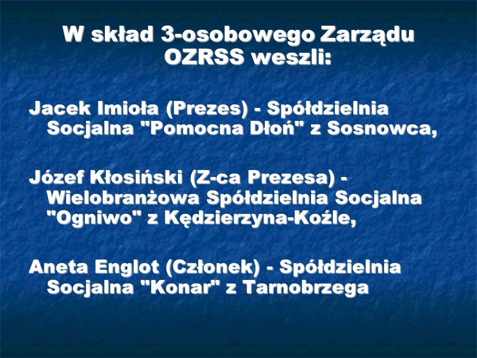 W skład 3-osobowego Zarządu OZRSS weszli: Jacek Imioła (Prezes) - Spółdzielnia Socjalna