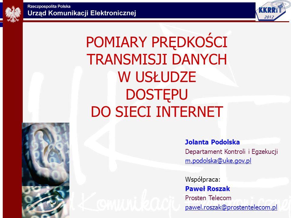 Plan prezentacji 1.Ramy regulacyjne przejrzystości ofert i umów na usługi telekomunikacyjne 2.Problemy i uwarunkowania podczas testów prędkości transmisji danych w usłudze Dostęp do sieci Internet 3.Testy prędkości transmisji danych (eksperyment) - Aplikacją dostawcy usługi http://noc.gts.plhttp://noc.gts.pl - Systemem UKE nGenius 4.