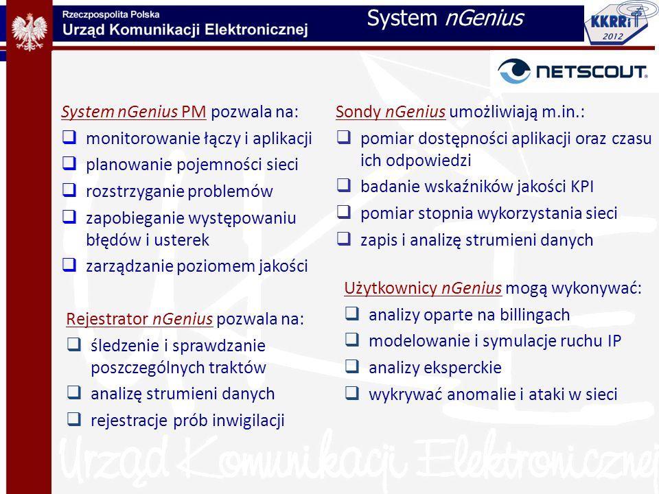 System nGenius PM pozwala na: monitorowanie łączy i aplikacji planowanie pojemności sieci rozstrzyganie problemów zapobieganie występowaniu błędów i u