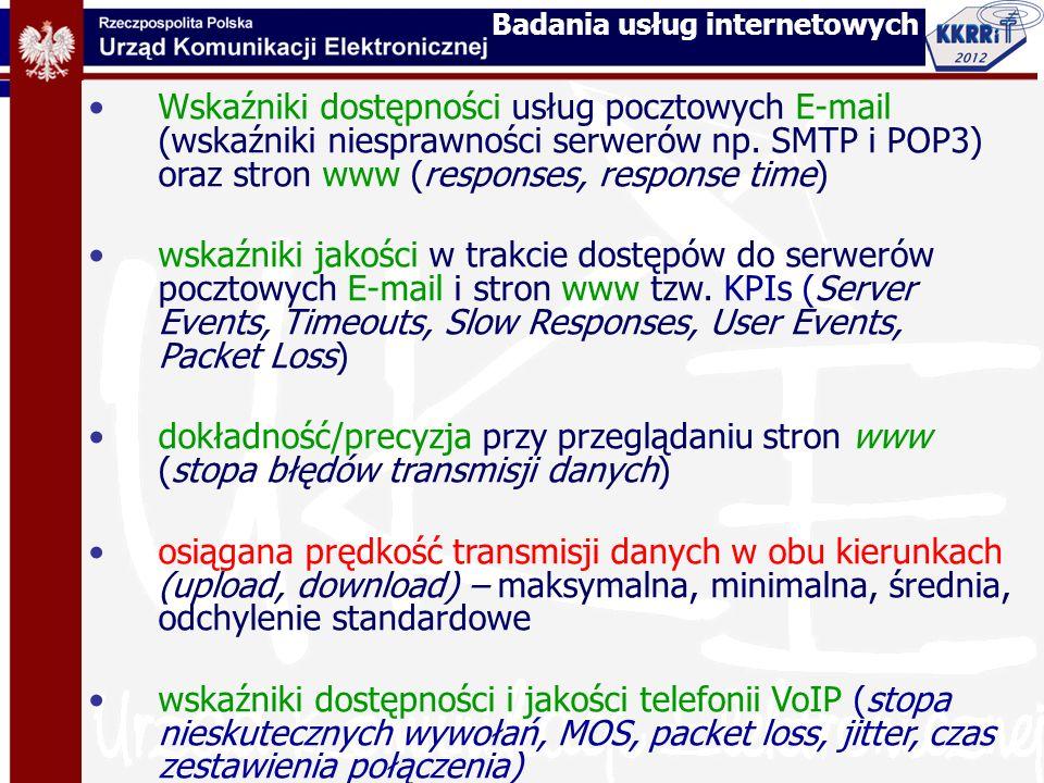 Wskaźniki dostępności usług pocztowych E-mail (wskaźniki niesprawności serwerów np. SMTP i POP3) oraz stron www (responses, response time) wskaźniki j