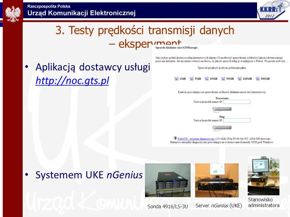 3. Testy prędkości transmisji danych – eksperyment Aplikacją dostawcy usługi http://noc.gts.pl http://noc.gts.pl Systemem UKE nGenius Sonda 4916/LS-3U