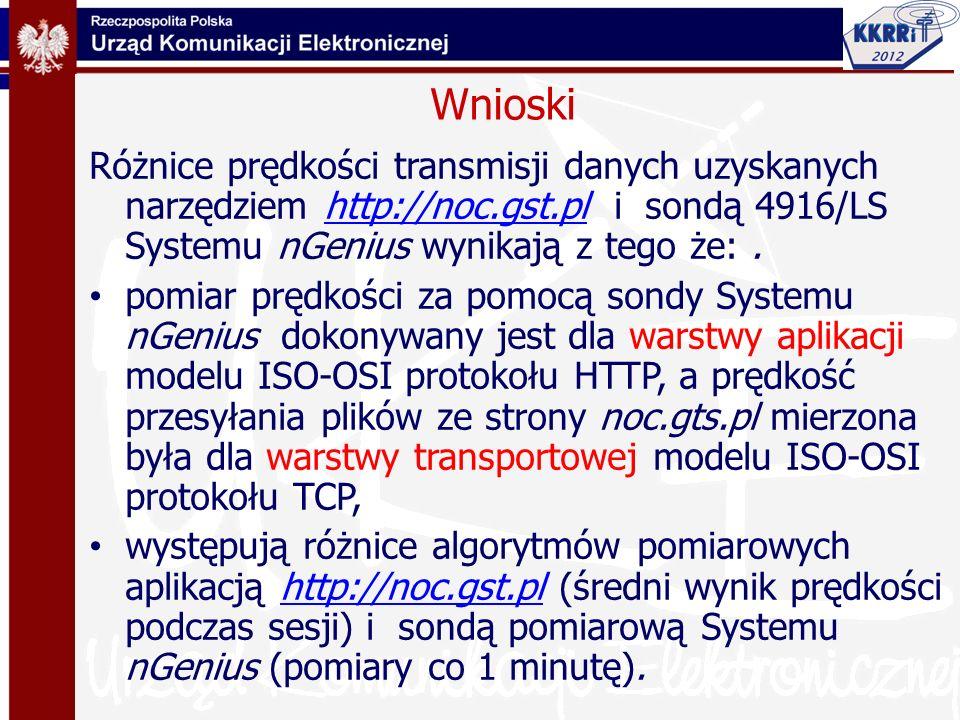 Wnioski Różnice prędkości transmisji danych uzyskanych narzędziem http://noc.gst.pl i sondą 4916/LS Systemu nGenius wynikają z tego że:.http://noc.gst