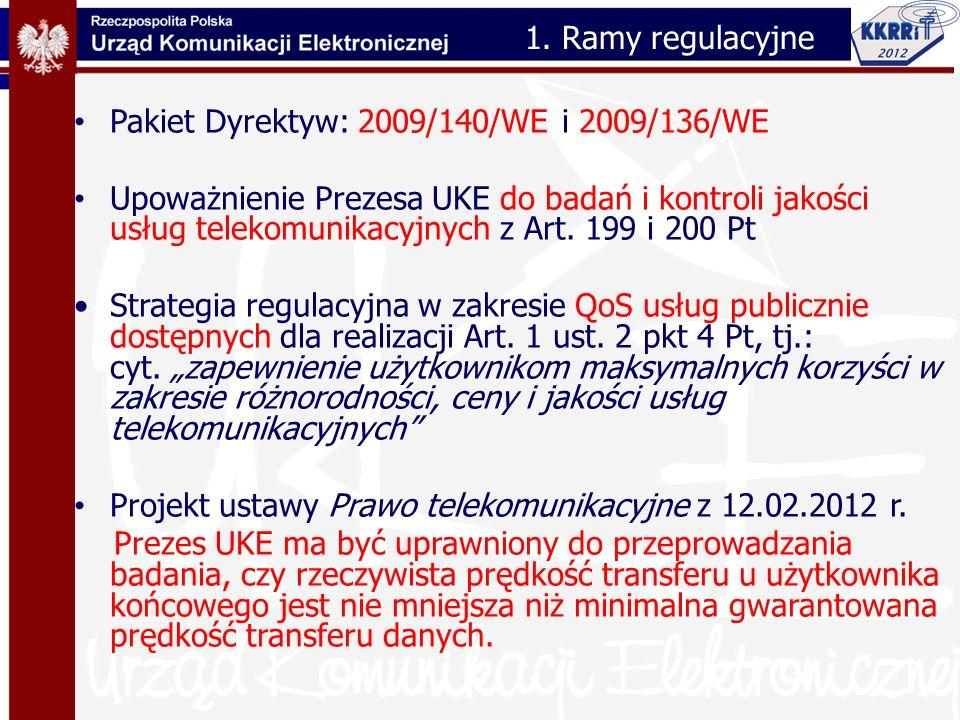 Pakiet Dyrektyw: 2009/140/WE i 2009/136/WE Upoważnienie Prezesa UKE do badań i kontroli jakości usług telekomunikacyjnych z Art. 199 i 200 Pt Strategi