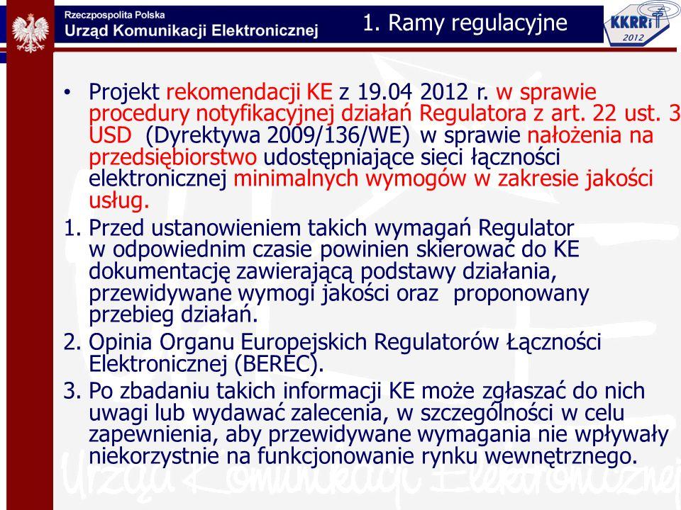 45 Proces ustalania wymagań jakości 1.weryfikacja poziomu jakości usług oferowanych przez ISP w w odniesieniu do zobowiązań umów z klientami 2.wykrycie newralgicznych punktów sieci wymagających nałożenia przez NRAs minimalnych wymagań QoS 3.ustalenie minimalnych wymagań jakościowych poprzedzone procesem gromadzenia istotnych danych QoS 4.monitorowanie spełnienia minimalnych wymagań jakości przez ISP