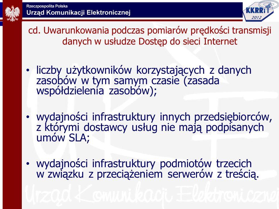 38 Usługa Dostęp do Internetu jest charakteryzowana parametrami oceny jakości usług transmisji danych: Przepływność (przepustowość) (up, down) Opóźnienie pakietu (one way delay) – zdefiniowany w IETF RFC 2679 Czas odpowiedzi pakietu (round trip delay) Zmienność opóźnienia pakietu (jitter) - zdefiniowany w IETF RFC 3393 Współczynnik utraty pakietów (packet lost) - zdefiniowany w ETF RFC 2680 38