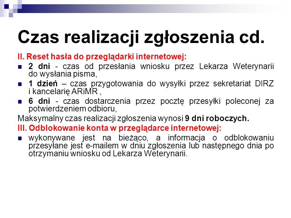 Czas realizacji zgłoszenia cd. II. Reset hasła do przeglądarki internetowej: 2 dni - czas od przesłania wniosku przez Lekarza Weterynarii do wysłania