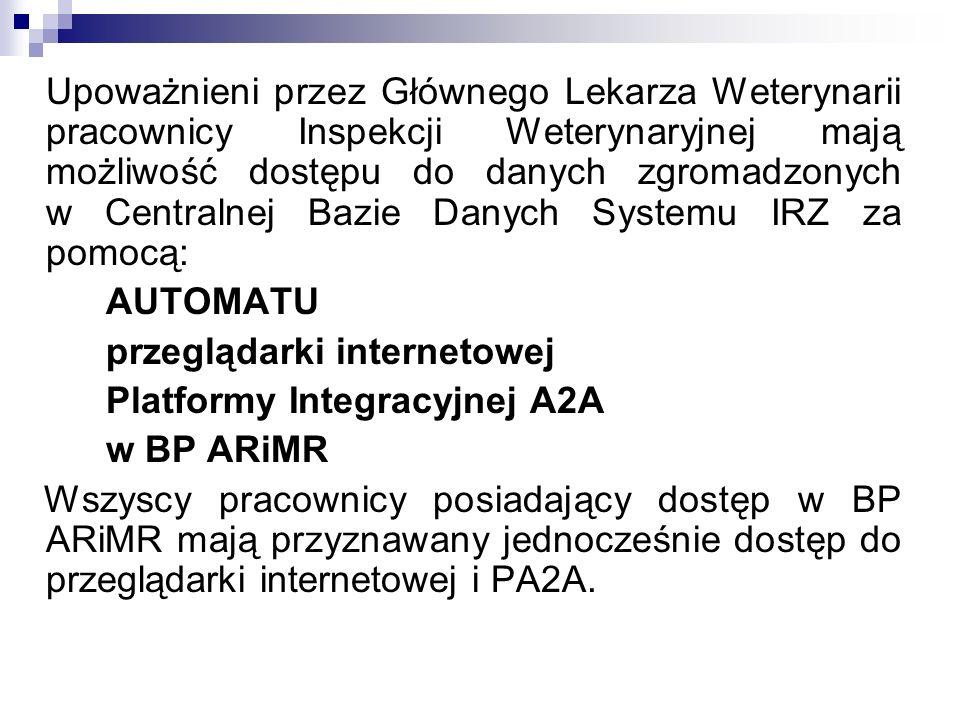 Upoważnieni przez Głównego Lekarza Weterynarii pracownicy Inspekcji Weterynaryjnej mają możliwość dostępu do danych zgromadzonych w Centralnej Bazie D