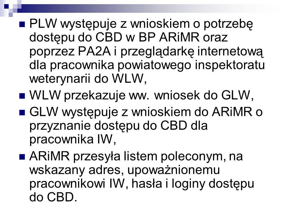 PLW występuje z wnioskiem o potrzebę dostępu do CBD w BP ARiMR oraz poprzez PA2A i przeglądarkę internetową dla pracownika powiatowego inspektoratu we