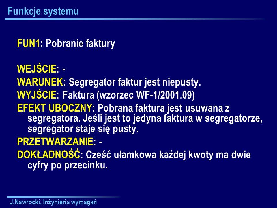 J.Nawrocki, Inżynieria wymagań Funkcje systemu FUN1: Pobranie faktury WEJŚCIE: - WARUNEK: Segregator faktur jest niepusty. WYJŚCIE: Faktura (wzorzec W
