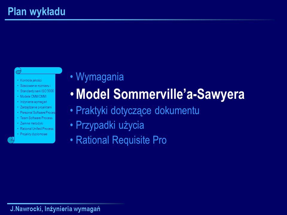 J.Nawrocki, Inżynieria wymagań Plan wykładu Wymagania Model Sommervillea-Sawyera Praktyki dotyczące dokumentu Przypadki użycia Rational Requisite Pro