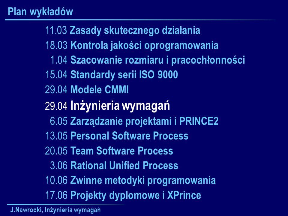J.Nawrocki, Inżynieria wymagań Plan wykładów 11.03 Zasady skutecznego działania 18.03 Kontrola jakości oprogramowania 1.04 Szacowanie rozmiaru i praco