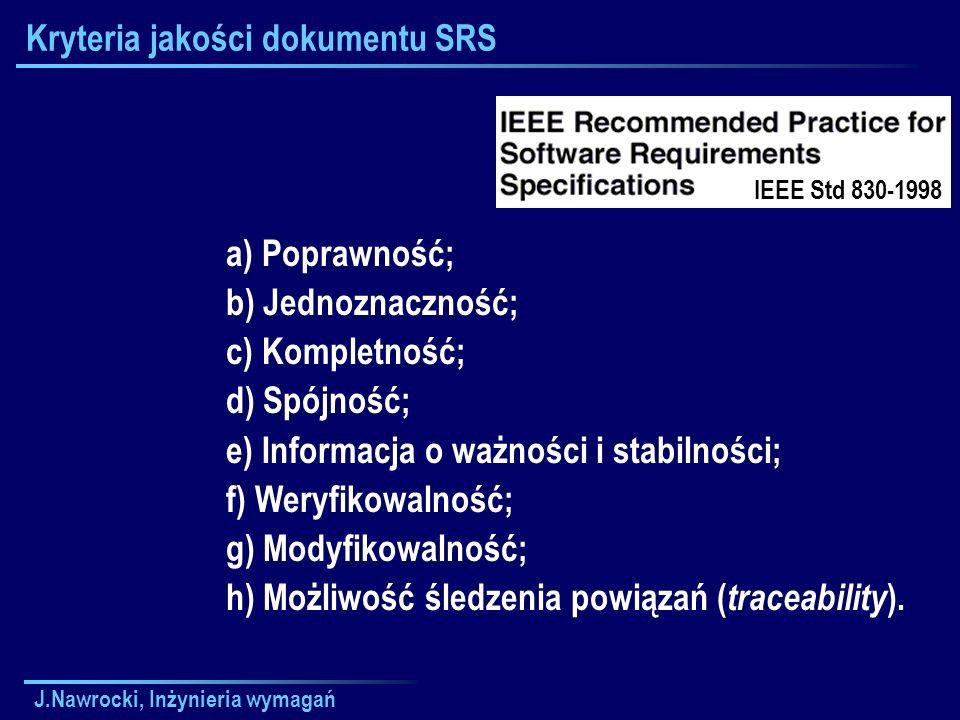 J.Nawrocki, Inżynieria wymagań Kryteria jakości dokumentu SRS a) Poprawność; b) Jednoznaczność; c) Kompletność; d) Spójność; e) Informacja o ważności