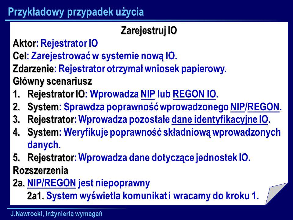 J.Nawrocki, Inżynieria wymagań Przykładowy przypadek użycia Zarejestruj IO Aktor Aktor: Rejestrator IO Cel Cel: Zarejestrować w systemie nową IO. Zdar