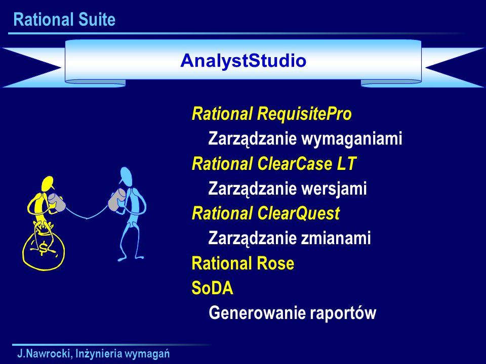 J.Nawrocki, Inżynieria wymagań Rational Suite Rational RequisitePro Zarządzanie wymaganiami Rational ClearCase LT Zarządzanie wersjami Rational ClearQ