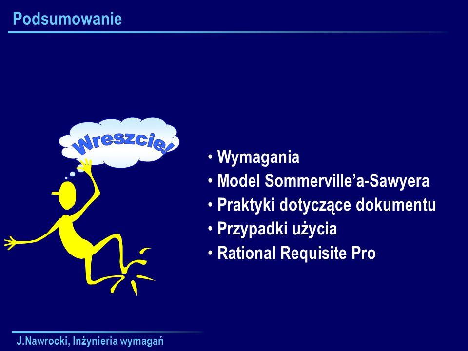 J.Nawrocki, Inżynieria wymagań Podsumowanie Wymagania Model Sommervillea-Sawyera Praktyki dotyczące dokumentu Przypadki użycia Rational Requisite Pro