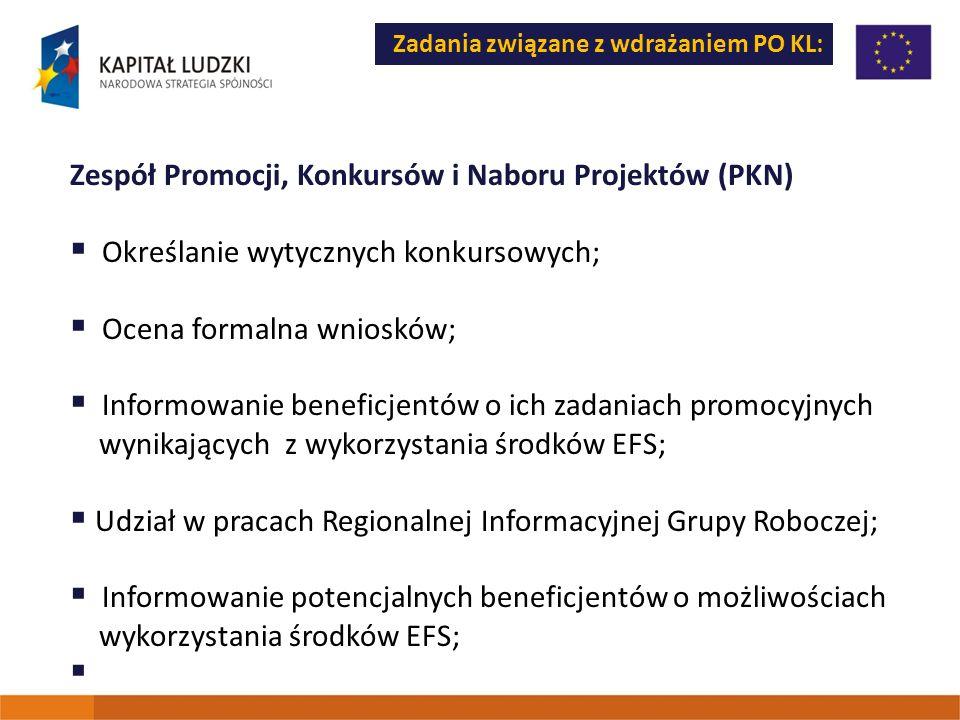 Zadania związane z wdrażaniem PO KL: Zespół Promocji, Konkursów i Naboru Projektów (PKN) Określanie wytycznych konkursowych; Ocena formalna wniosków;