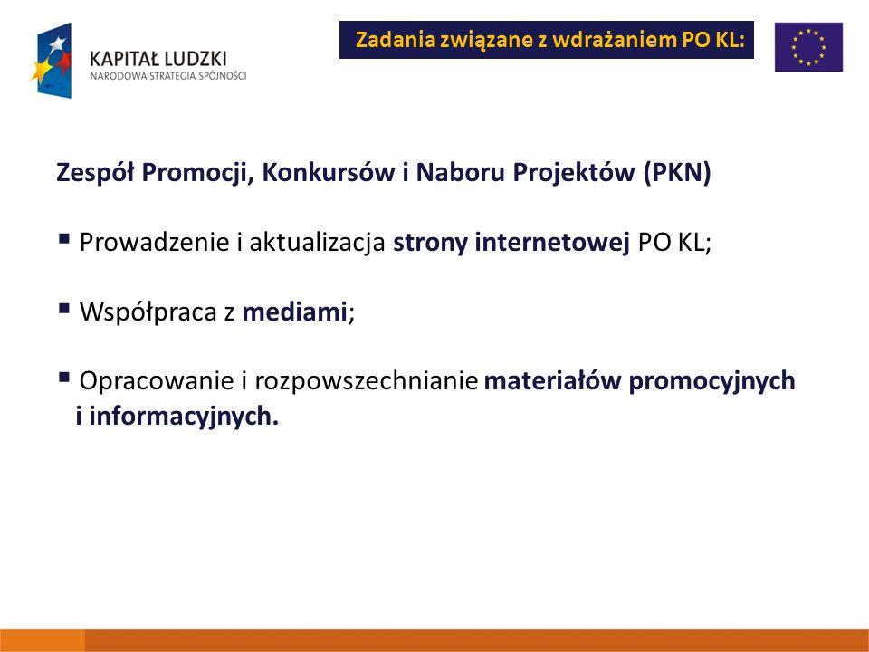 Zadania związane z wdrażaniem PO KL: Zespół Promocji, Konkursów i Naboru Projektów (PKN) Prowadzenie i aktualizacja strony internetowej PO KL; Współpr