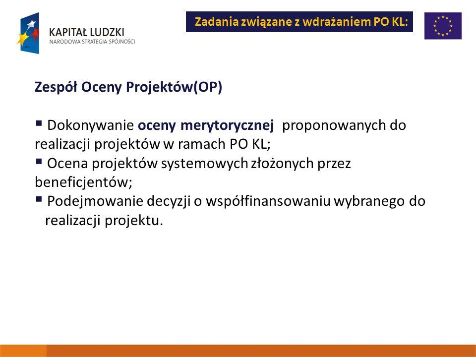 Zadania związane z wdrażaniem PO KL: Zespół Oceny Projektów(OP) Dokonywanie oceny merytorycznej proponowanych do realizacji projektów w ramach PO KL;