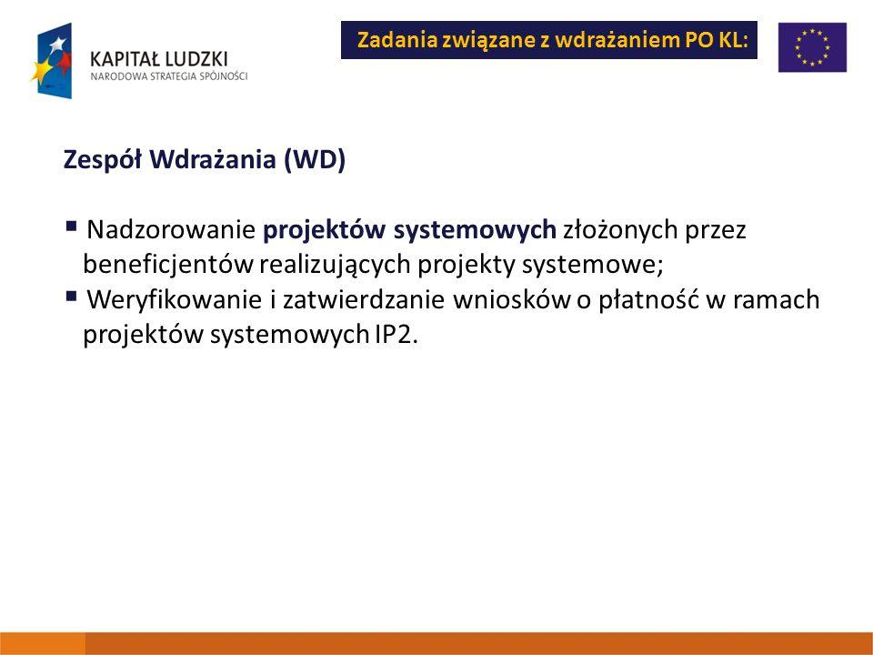 Zadania związane z wdrażaniem PO KL: Zespół Wdrażania (WD) Nadzorowanie projektów systemowych złożonych przez beneficjentów realizujących projekty sys