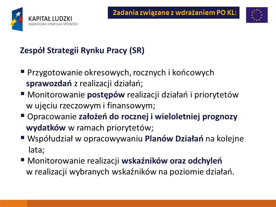 Zadania związane z wdrażaniem PO KL: Zespół Strategii Rynku Pracy (SR) Przygotowanie okresowych, rocznych i końcowych sprawozdań z realizacji działań;