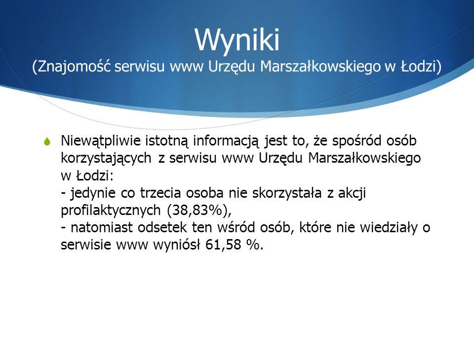 Niewątpliwie istotną informacją jest to, że spośród osób korzystających z serwisu www Urzędu Marszałkowskiego w Łodzi: - jedynie co trzecia osoba nie