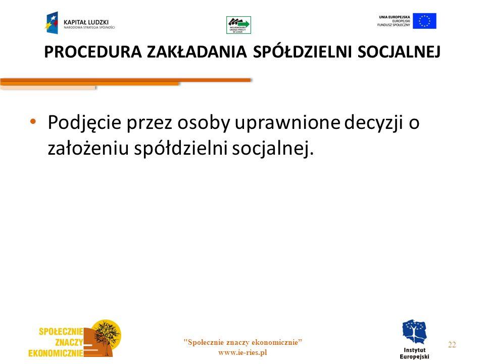 PROCEDURA ZAKŁADANIA SPÓŁDZIELNI SOCJALNEJ Podjęcie przez osoby uprawnione decyzji o założeniu spółdzielni socjalnej.