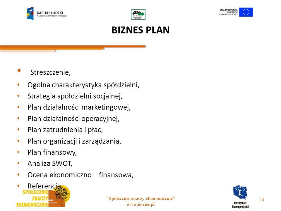 BIZNES PLAN Streszczenie, Ogólna charakterystyka spółdzielni, Strategia spółdzielni socjalnej, Plan działalności marketingowej, Plan działalności oper
