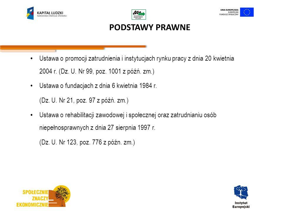 PODSTAWY PRAWNE Ustawa o promocji zatrudnienia i instytucjach rynku pracy z dnia 20 kwietnia 2004 r. (Dz. U. Nr 99, poz. 1001 z późń. zm.) Ustawa o fu