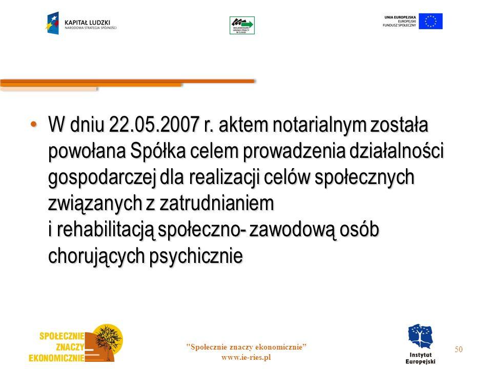 W dniu 22.05.2007 r. aktem notarialnym została powołana Spółka celem prowadzenia działalności gospodarczej dla realizacji celów społecznych związanych