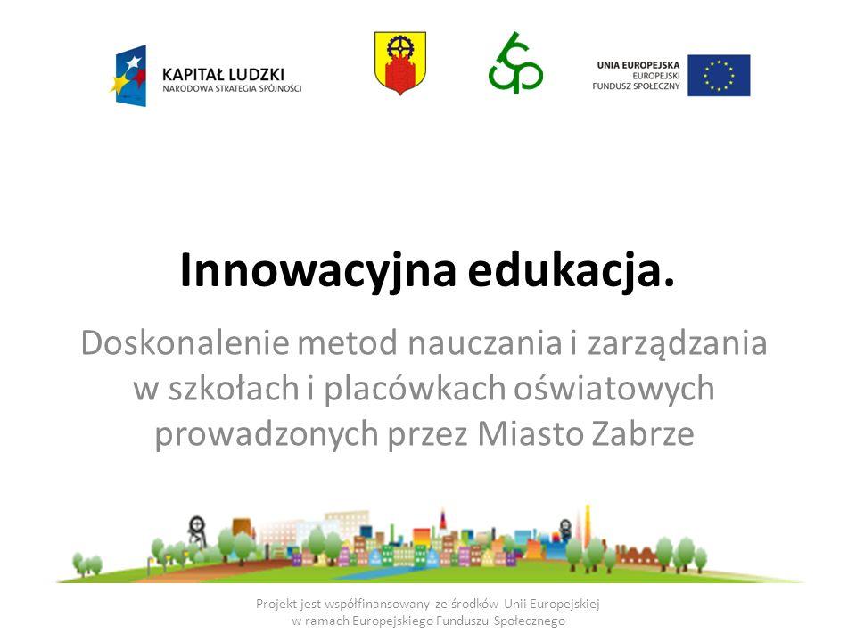Kurs ECDL Core (120h) Innowacje w przepisach i realiach oświatowych (36h) – Przepisy prawa (12h) – Innowacyjne zarządzanie karierą zawodową nauczyciela (12h) – Innowacje pedagogiczne w świetle trendów współczesnej edukacji (12h) Innowacyjne formy pracy nauczyciela (27h + 9h pracy własnej) – Nauczanie metodą projektu (9h) – Własny program nauczania jako forma innowacji pedagogicznej (9h) – Prezentacja i ocena projektów innowacji pedagogicznych i własnych programów nauczania (9h) Projekt jest współfinansowany ze środków Unii Europejskiej w ramach Europejskiego Funduszu Społecznego Lider innowacji pedagogicznych