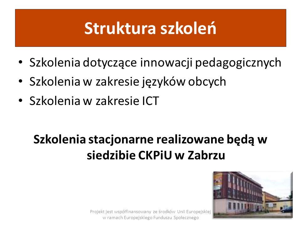 Struktura szkoleń Szkolenia dotyczące innowacji pedagogicznych Szkolenia w zakresie języków obcych Szkolenia w zakresie ICT Szkolenia stacjonarne real
