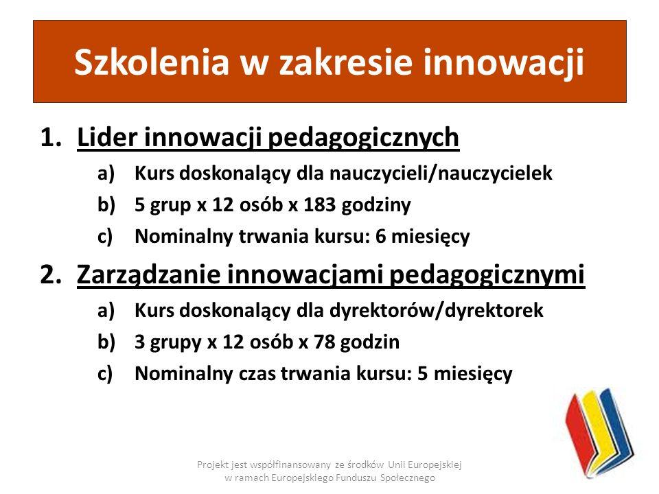 1.Lider innowacji pedagogicznych a)Kurs doskonalący dla nauczycieli/nauczycielek b)5 grup x 12 osób x 183 godziny c)Nominalny trwania kursu: 6 miesięc