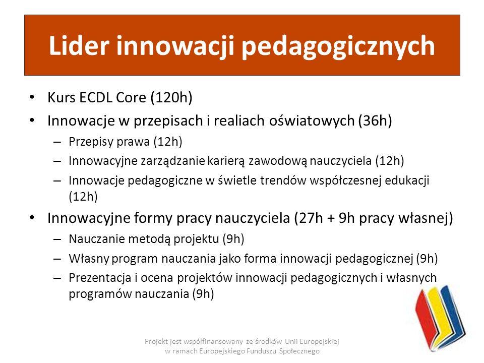 Kurs ECDL Core (120h) Innowacje w przepisach i realiach oświatowych (36h) – Przepisy prawa (12h) – Innowacyjne zarządzanie karierą zawodową nauczyciel
