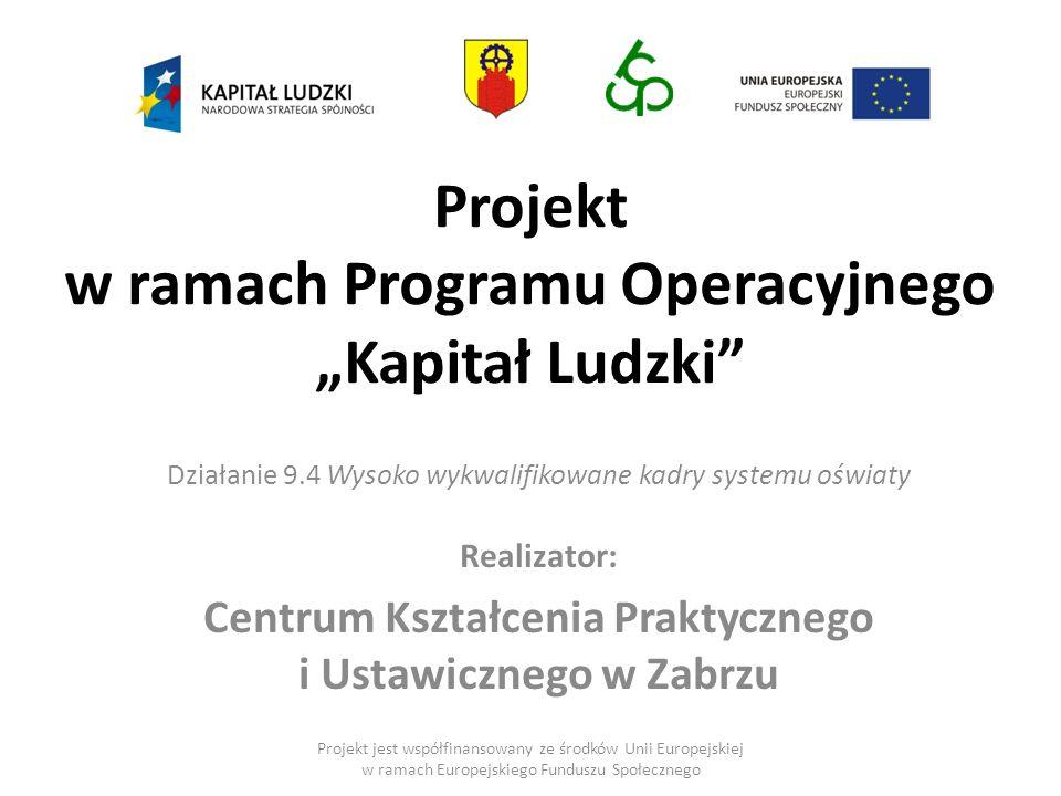 Projekt w ramach Programu Operacyjnego Kapitał Ludzki Działanie 9.4 Wysoko wykwalifikowane kadry systemu oświaty Realizator: Centrum Kształcenia Prakt